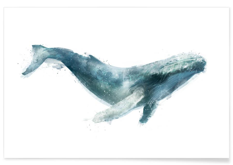 Nursery & Art for Kids, Whales, Humpback Whale Illustration Poster