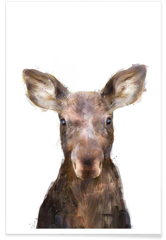 Little Moose Illustration Poster