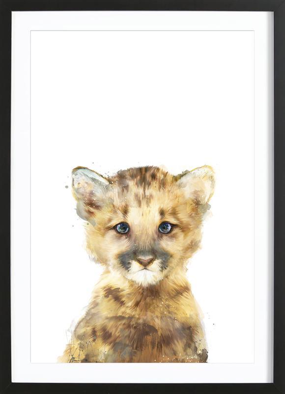 Little Mountain Lion -Bild mit Holzrahmen