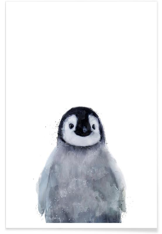 Art pour enfants, Noir & blanc, Pingouins, Illustration de petit pingouin affiche