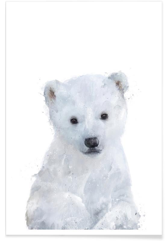 Art pour enfants, Ours, Noir & blanc, Illustration de petit ours polaire affiche