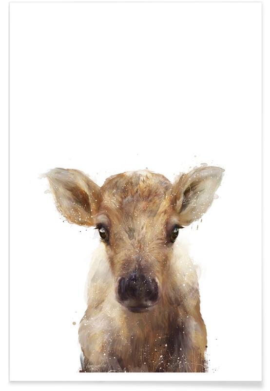Cerfs, Art pour enfants, Illustration de petit renne affiche