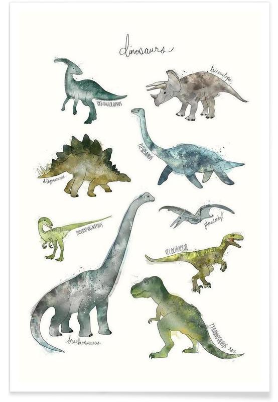 Børneværelse & kunst for børn, Dinosaurer, Dinosaurs Illustration Plakat