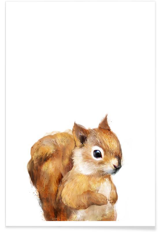 Ecureuils, Art pour enfants, Illustration de petit écureuil affiche
