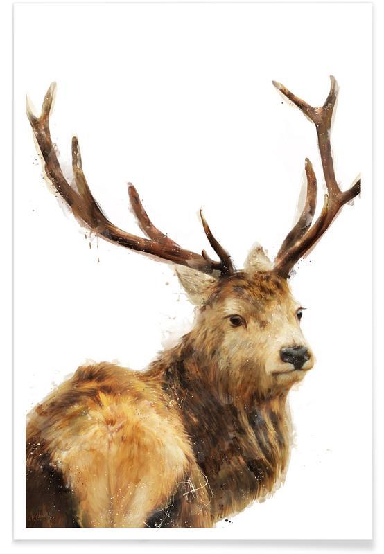 Winter edelherten illustratie poster