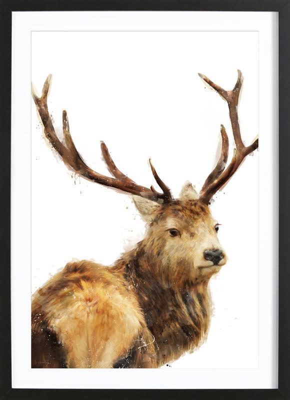 Winter Red Deer affiche sous cadre en bois