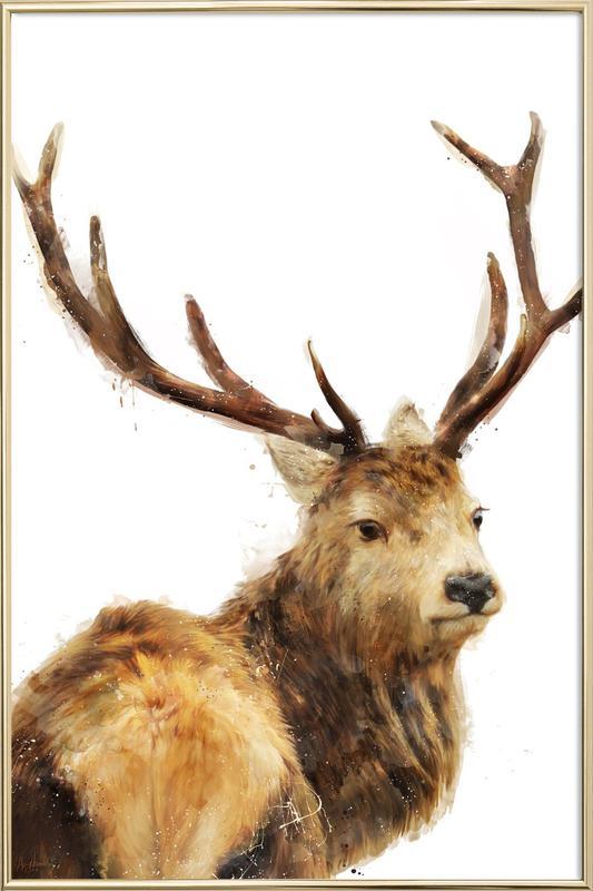 Winter Red Deer -Poster im Alurahmen
