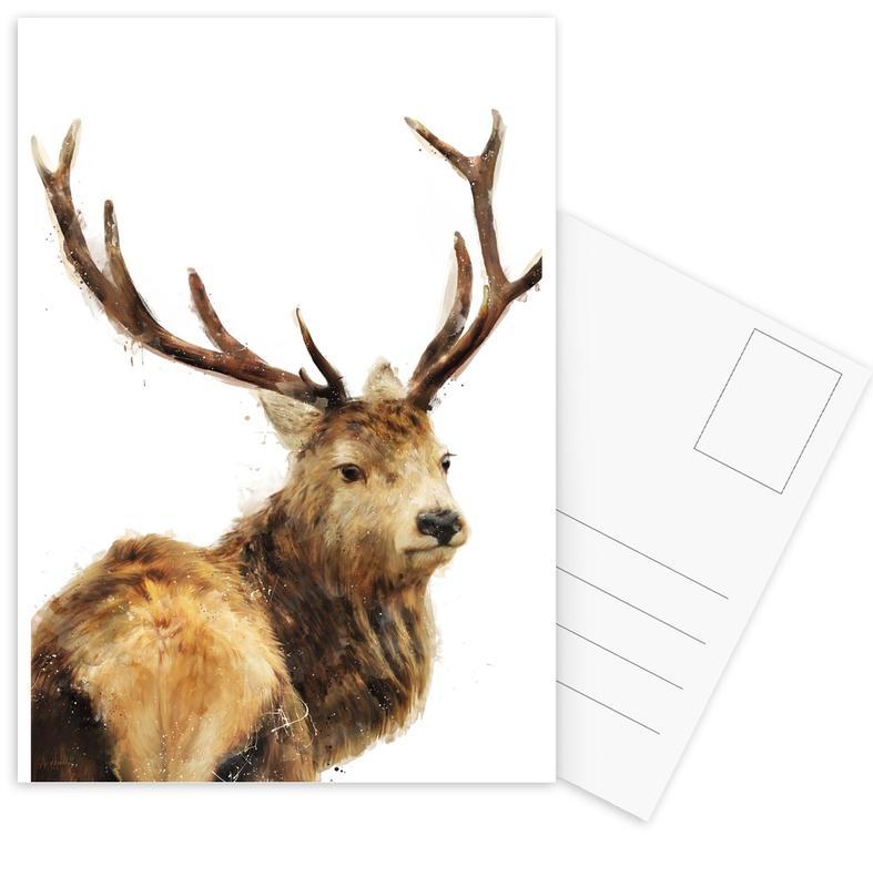 Cerfs, Art pour enfants, Winter Red Deer cartes postales