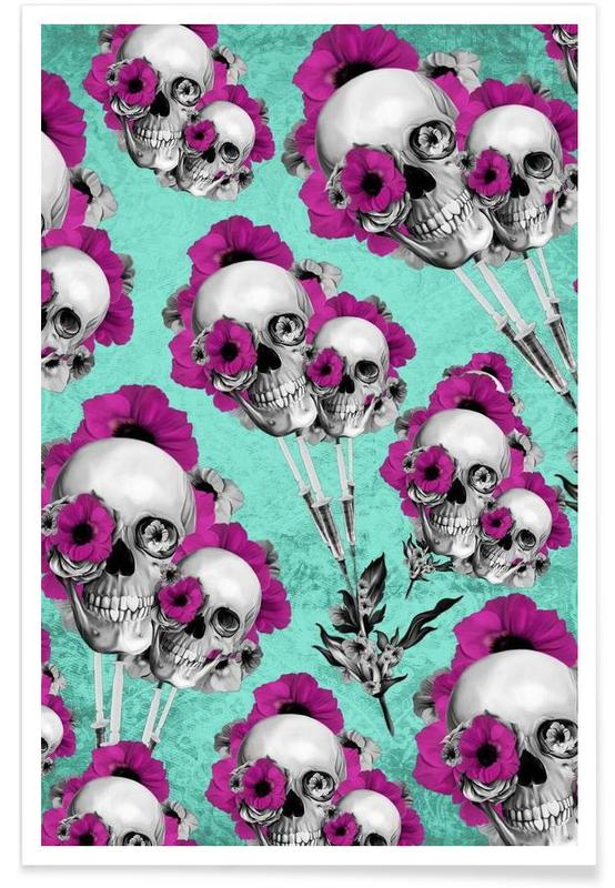 Skulls and Poppies Pattern affiche