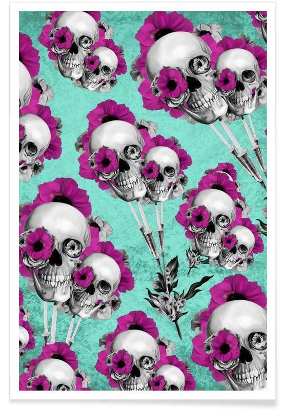 Kranier, Skulls and Poppies Pattern Plakat