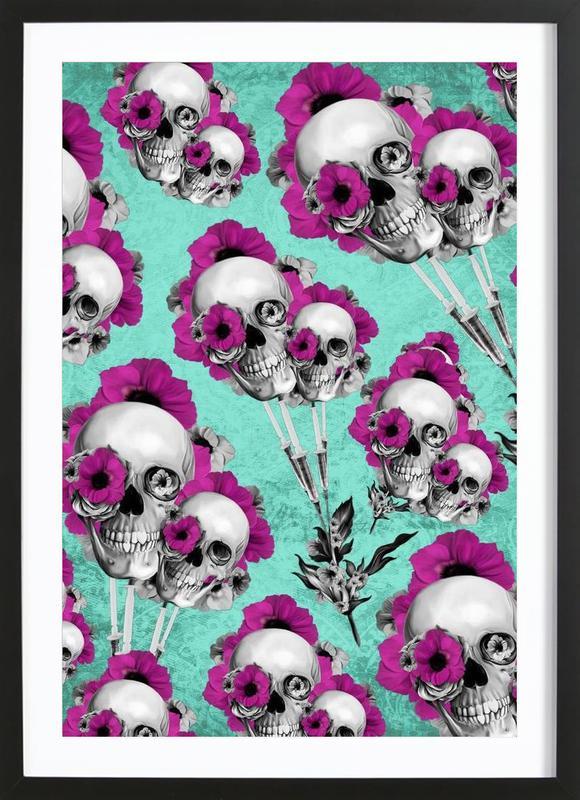 Skulls and Poppies Pattern Framed Print