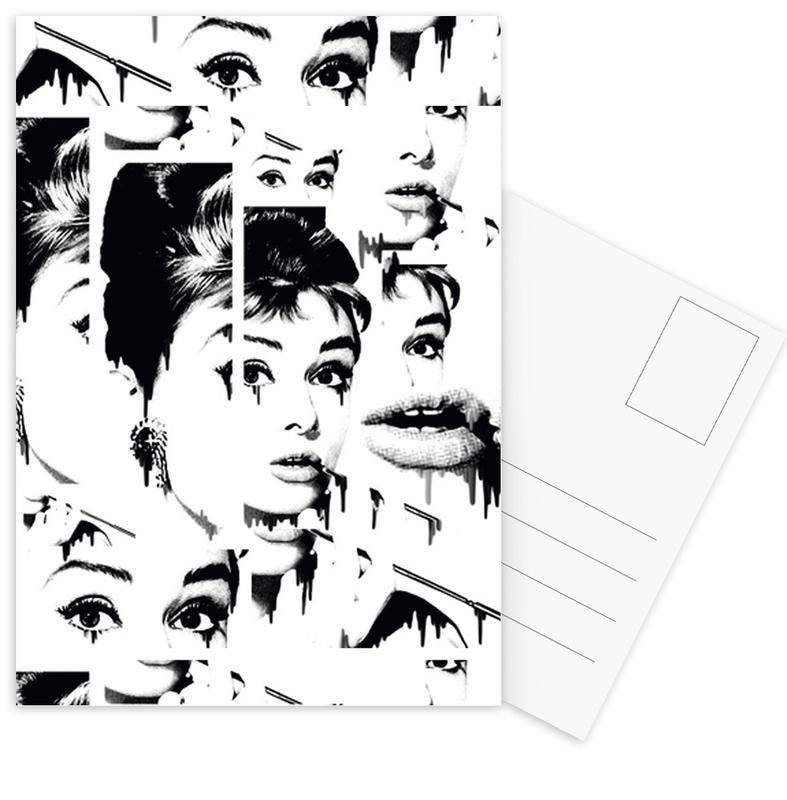 Audrey Hepburn, Schwarz & Weiß, Crushed -Postkartenset