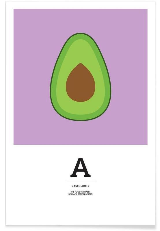 "Avocats, ""The Food Alphabet"" - A like Avocado affiche"