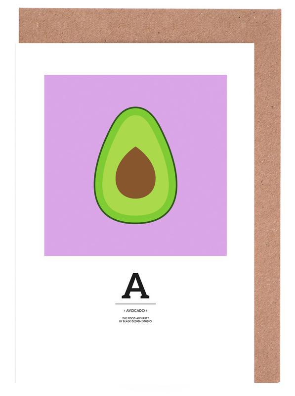 """""""The Food Alphabet"""" - A like Avocado -Grußkarten-Set"""