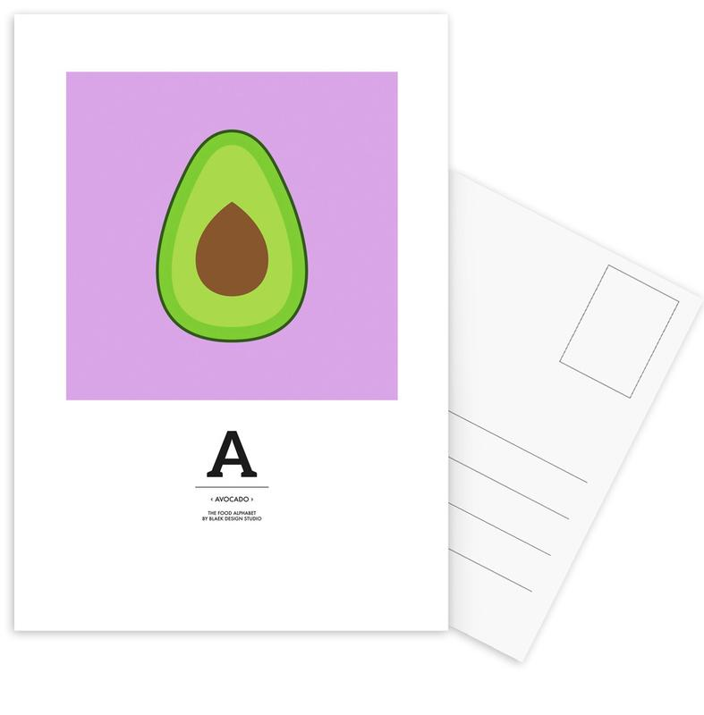 """The Food Alphabet"" - A like Avocado -Postkartenset"