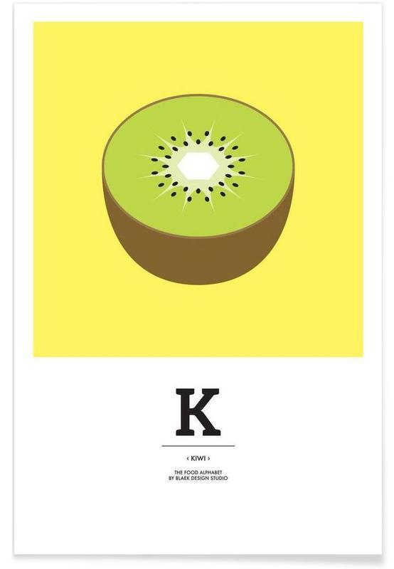 "Kiwis, Alphabet et lettres, ""The Food Alphabet"" - K like Kiwi affiche"