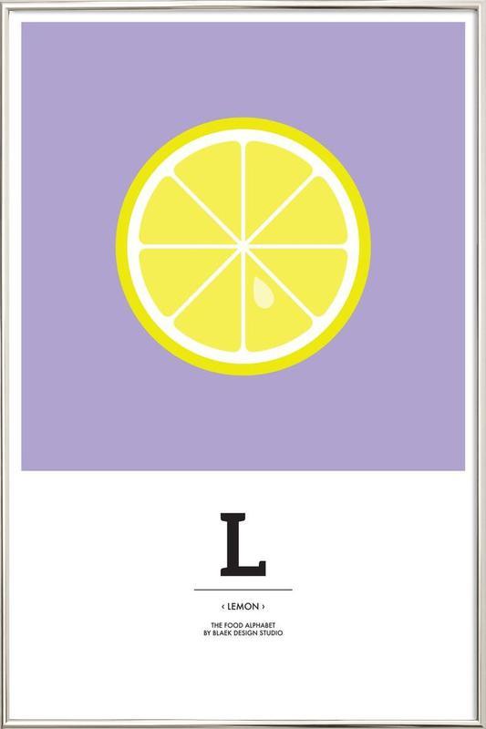 """""""The Food Alphabet"""" - L like Lemon Poster in Aluminium Frame"""