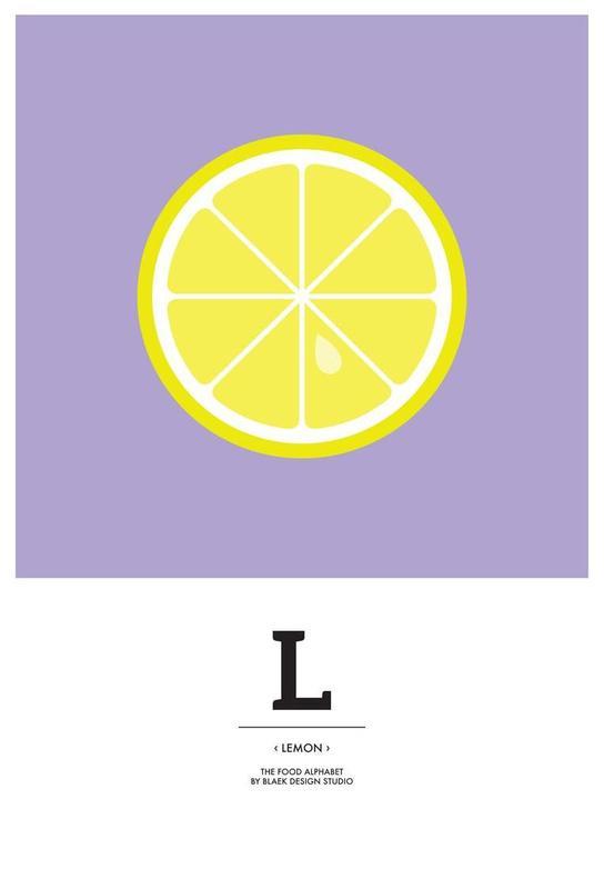"""The Food Alphabet"" - L like Lemon Aluminium Print"