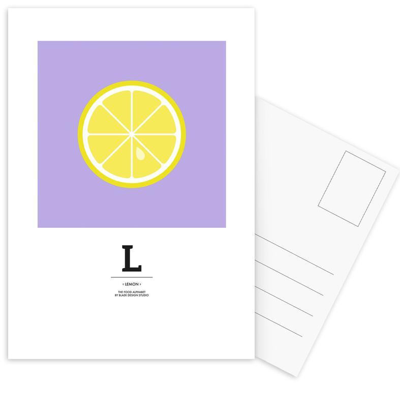 """Citroenen, """"The Food Alphabet"""" - L like Lemon ansichtkaartenset"""