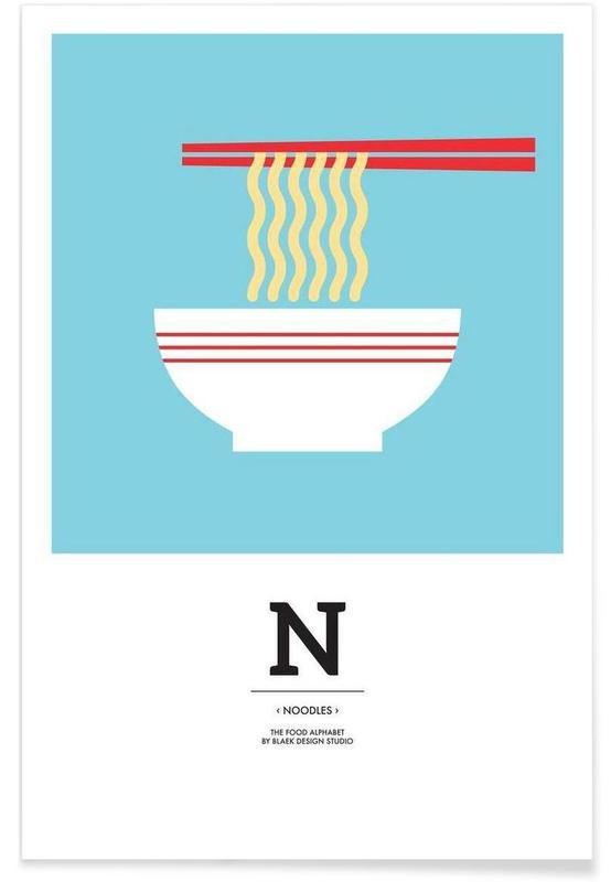 """""""The Food Alphabet"""" - N like Noodles affiche"""