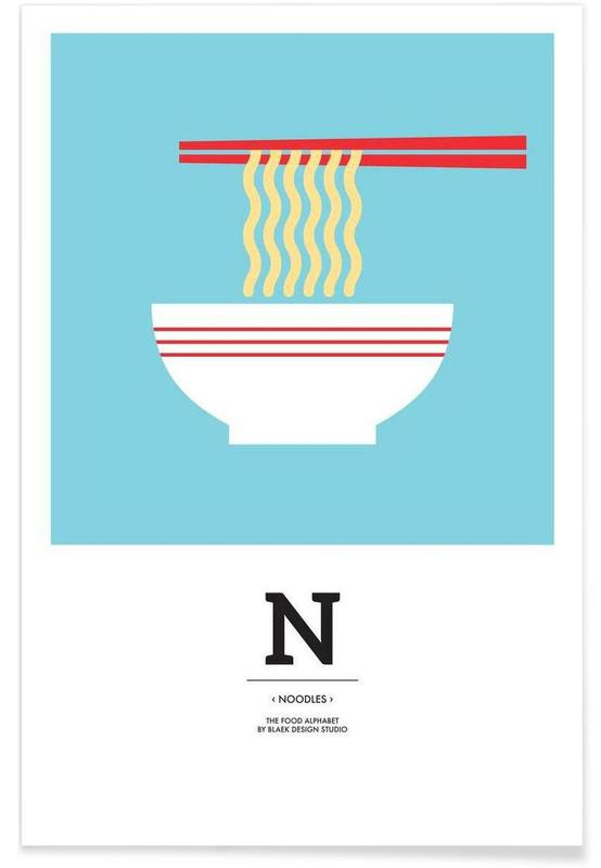 """The Food Alphabet"" - N like Noodles Poster"