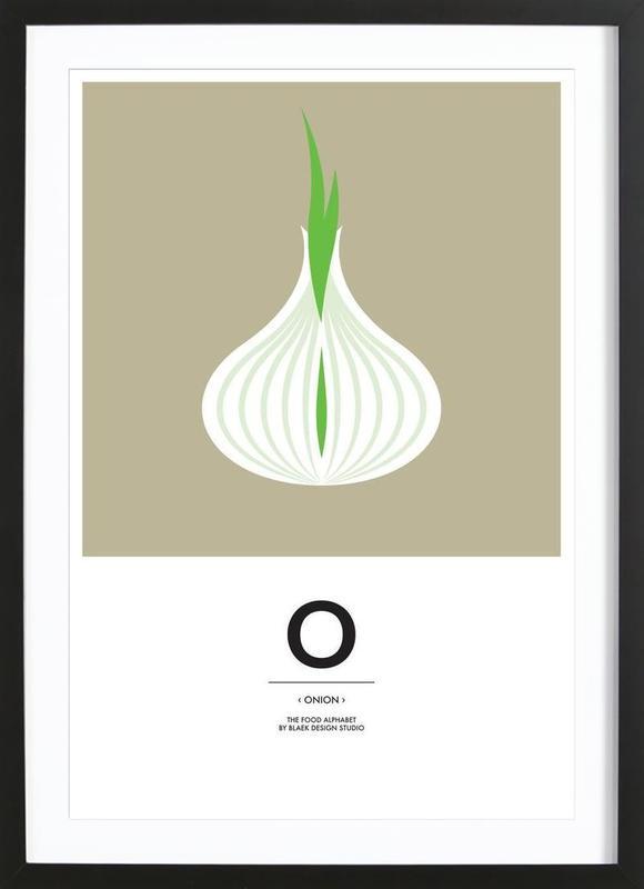 """""""The Food Alphabet"""" - O like Onion Framed Print"""