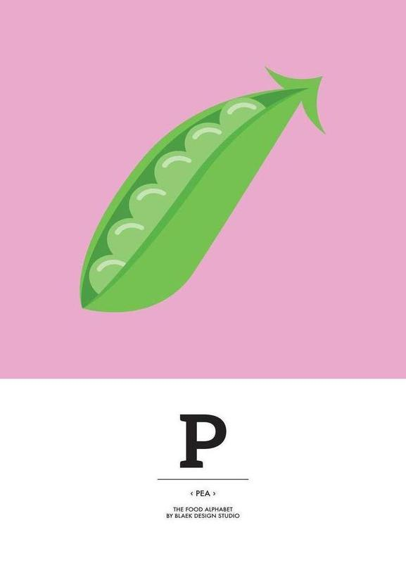 """The Food Alphabet"" - P like Pea canvas doek"