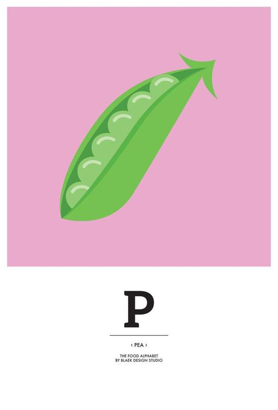 """""""The Food Alphabet"""" - P like Pea acrylglas print"""