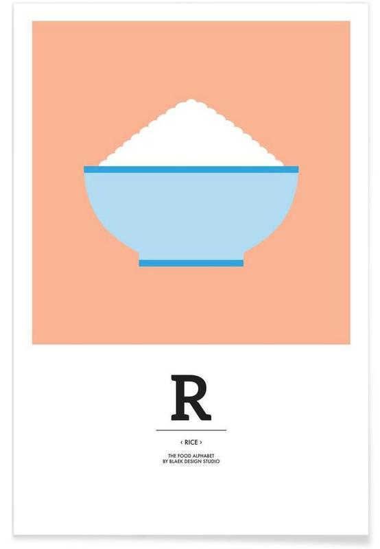 """""""The Food Alphabet"""" - R like Rice affiche"""