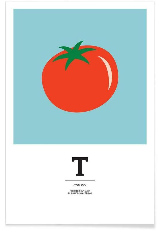"Tomates, ""The Food Alphabet"" - T like Tomato affiche"
