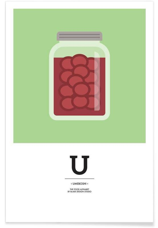 """The Food Alphabet"" - U like Umeboshi Poster"