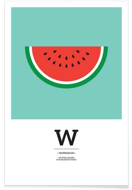 """Pastèques, """"The Food Alphabet"""" - W like Watermelon affiche"""