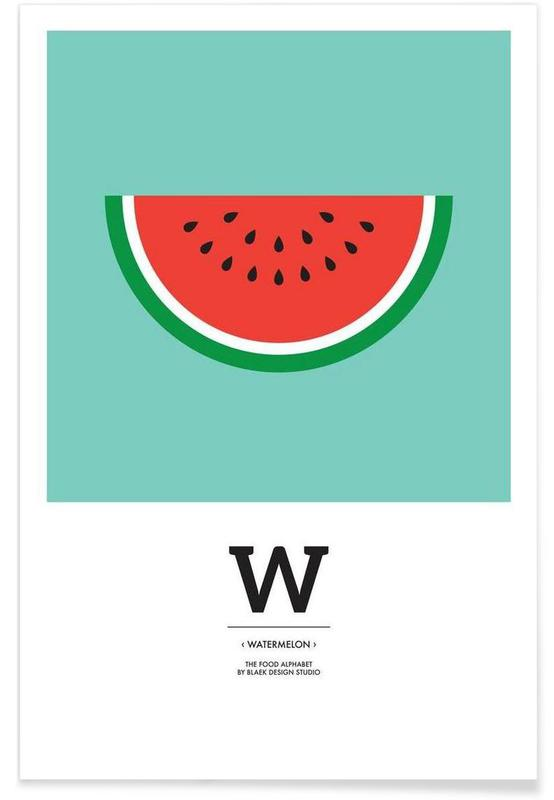 """The Food Alphabet"" - W like Watermelon -Poster"