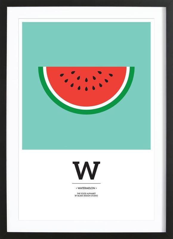 """""""The Food Alphabet"""" - W like Watermelon affiche sous cadre en bois"""