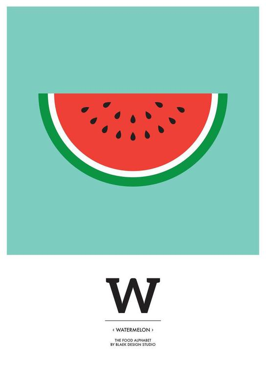 """The Food Alphabet"" - W like Watermelon Impression sur alu-Dibond"