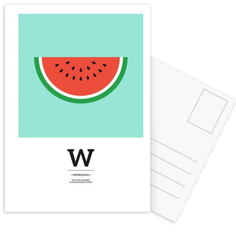 "Watermeloenen, ""The Food Alphabet"" - W like Watermelon ansichtkaartenset"