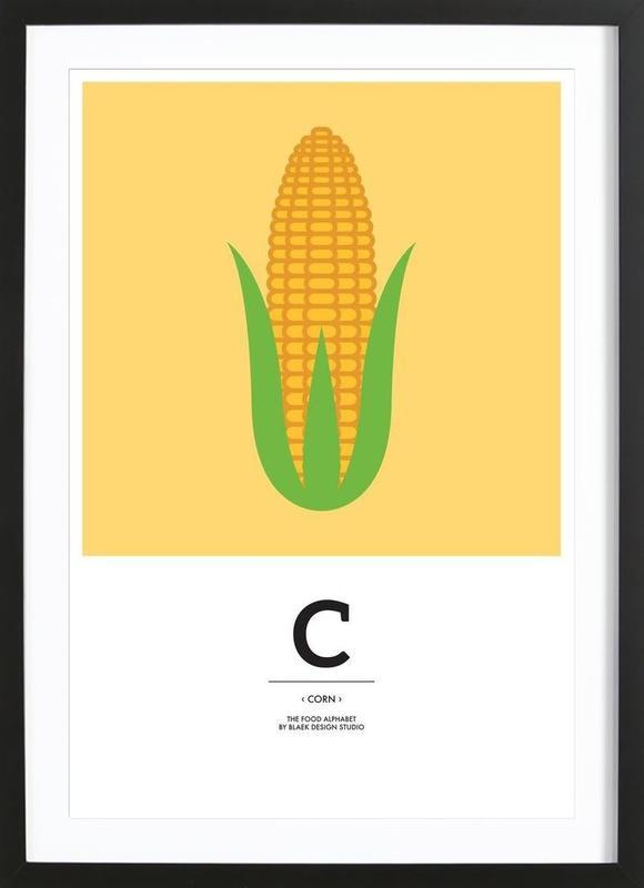 """The Food Alphabet"" - C like Corn ingelijste print"