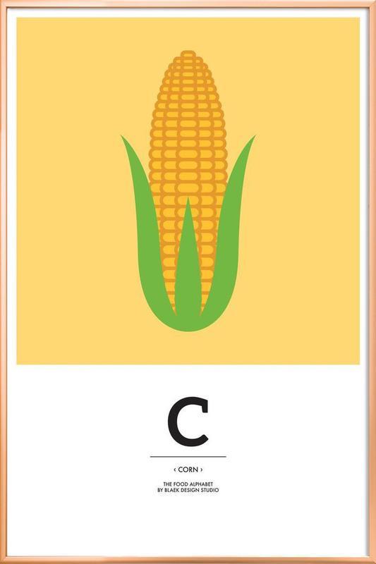 """The Food Alphabet"" - C like Corn -Poster im Alurahmen"
