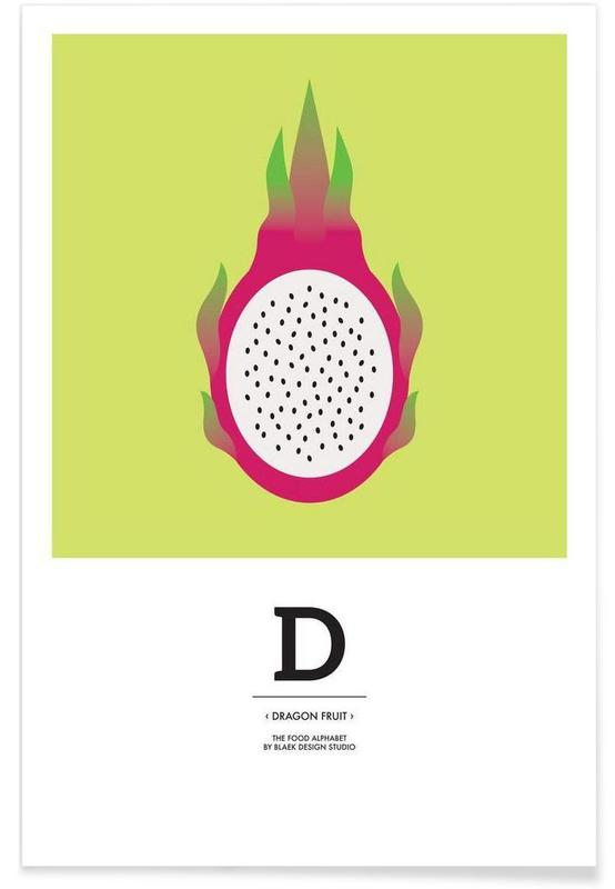 """The Food Alphabet"" - D like Dragon Fruit Poster"