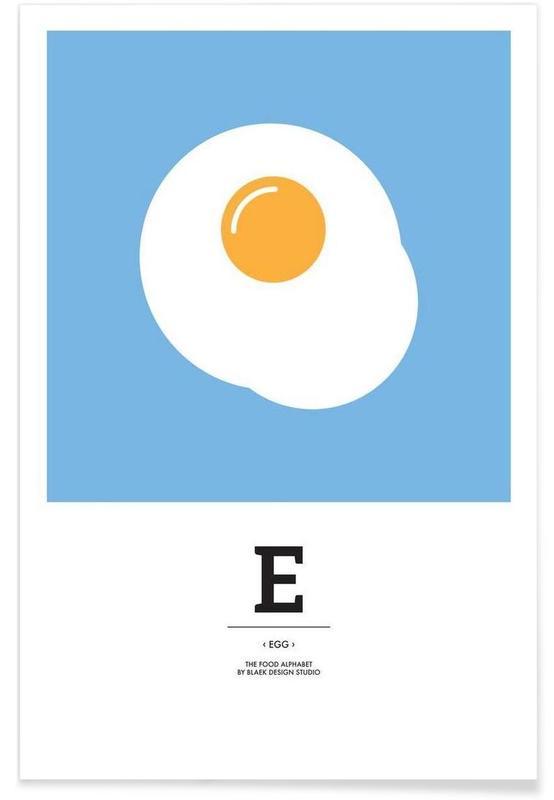 ", ""The Food Alphabet"" - E like Egg -Poster"