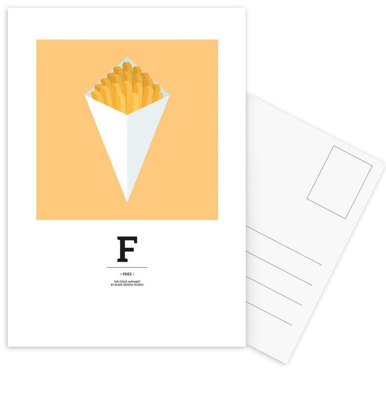 """, """"The Food Alphabet"""" - F like Fries ansichtkaartenset"""