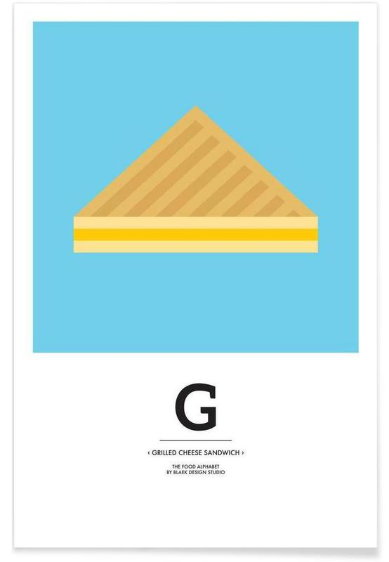 """, """"The Food Alphabet"""" - G like Grilled Cheese Sandwich affiche"""