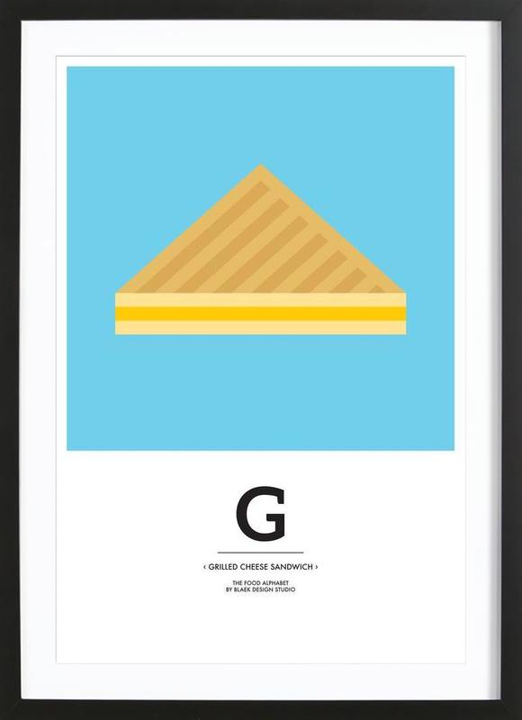 """The Food Alphabet"" - G like Grilled Cheese Sandwich ingelijste print"