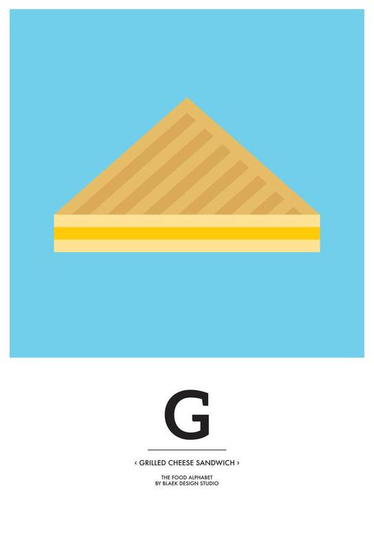 """The Food Alphabet"" - G like Grilled Cheese Sandwich alu dibond"