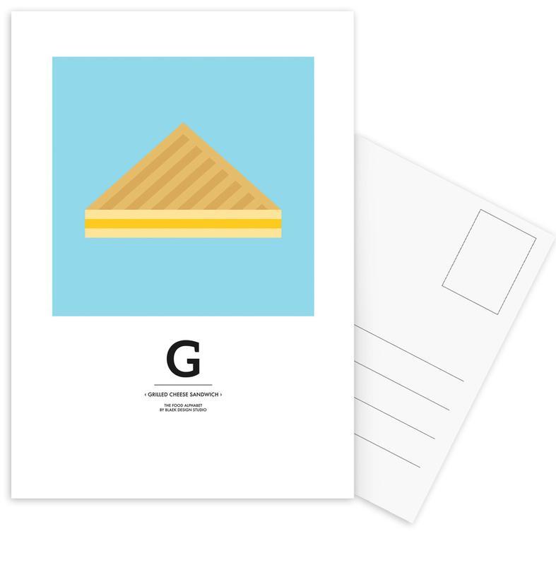 ", ""The Food Alphabet"" - G like Grilled Cheese Sandwich ansichtkaartenset"