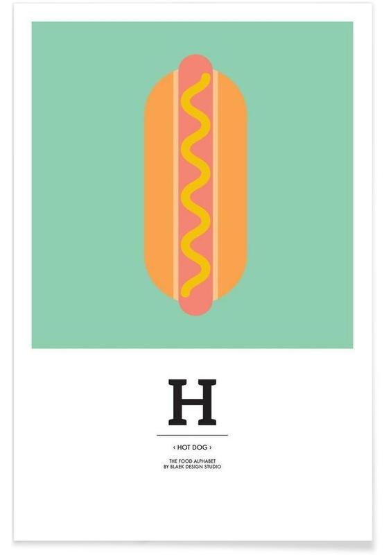 """The Food Alphabet"" - H like Hot Dog affiche"