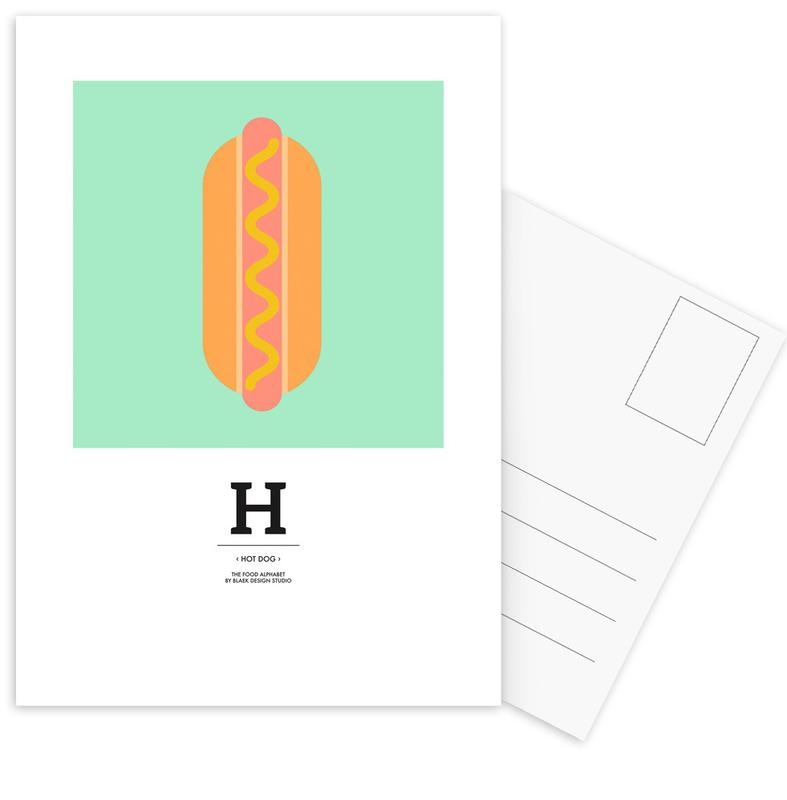 """, """"The Food Alphabet"""" - H like Hot Dog ansichtkaartenset"""