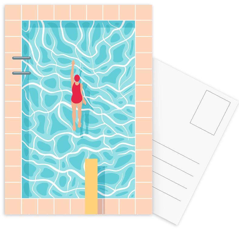 Swimming, Pool Postcard Set