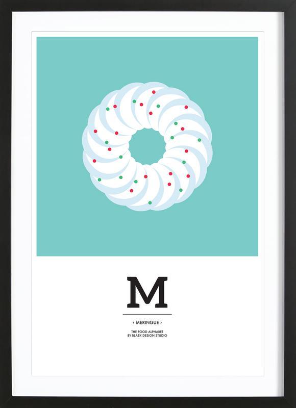 Food Alphabet Xmas Edition M affiche sous cadre en bois