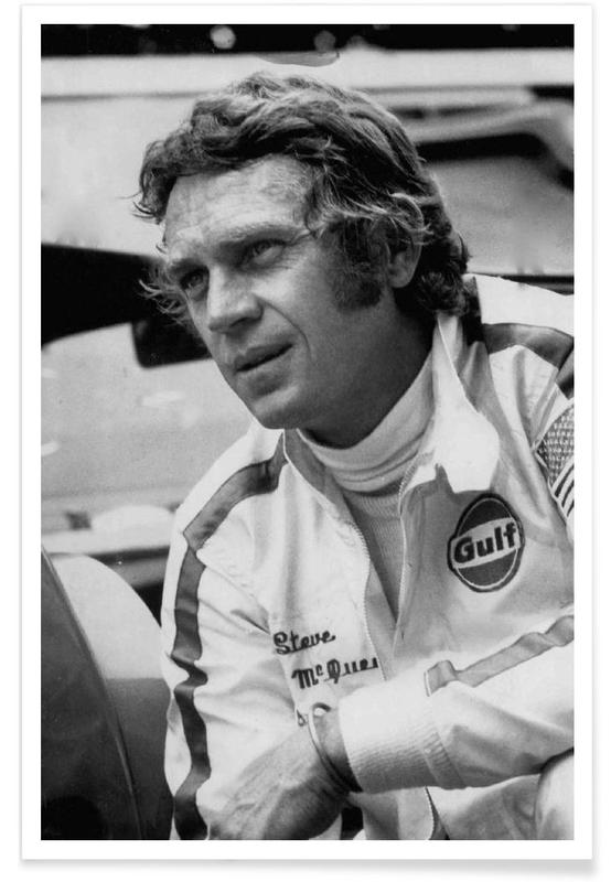 Noir & blanc, Vintage, Steve McQueen dans Le Mans, 1971 - Photographie affiche